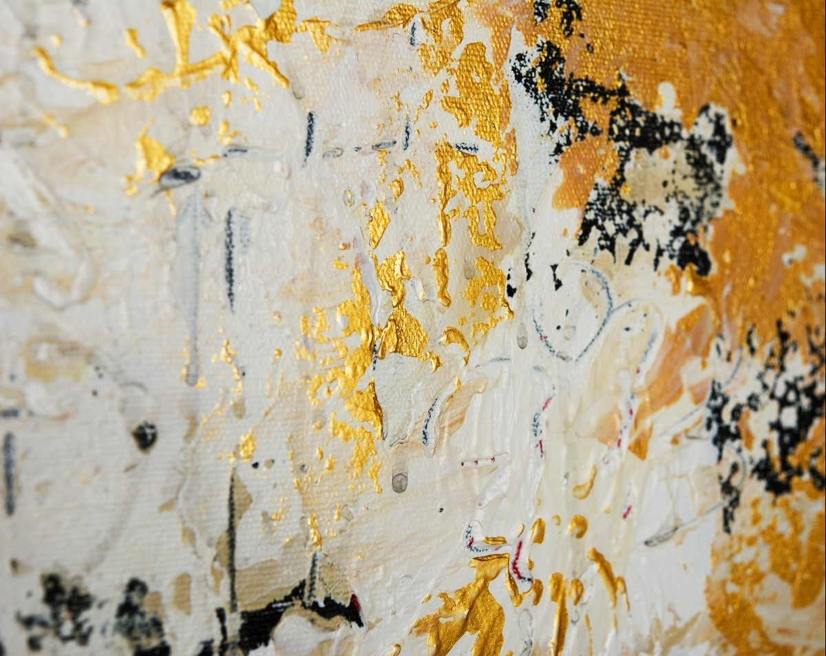 "Hidden Messagesqiqigallery 16"" X 20"" Abstract Landscape For Recent Black And Gold Abstract Wall Art (View 6 of 20)"