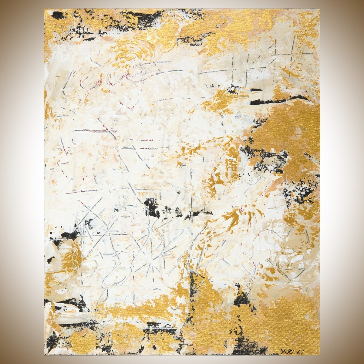 "Hidden Messagesqiqigallery 16"" X 20"" Abstract Landscape Throughout Best And Newest Black And Gold Abstract Wall Art (View 8 of 20)"