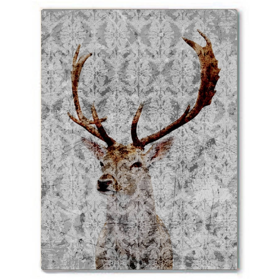 Highlands Stag Canvas Artpalm Valley   Notonthehighstreet With Most Recent Abstract Deer Wall Art (Gallery 19 of 20)