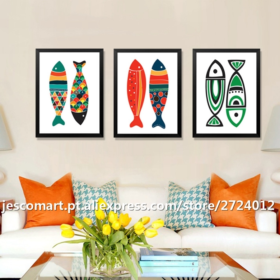 Home Decor Canvas Painting Abstract Style Colourful Fish Wall Art Intended For Most Recent Abstract Fish Wall Art (View 11 of 20)
