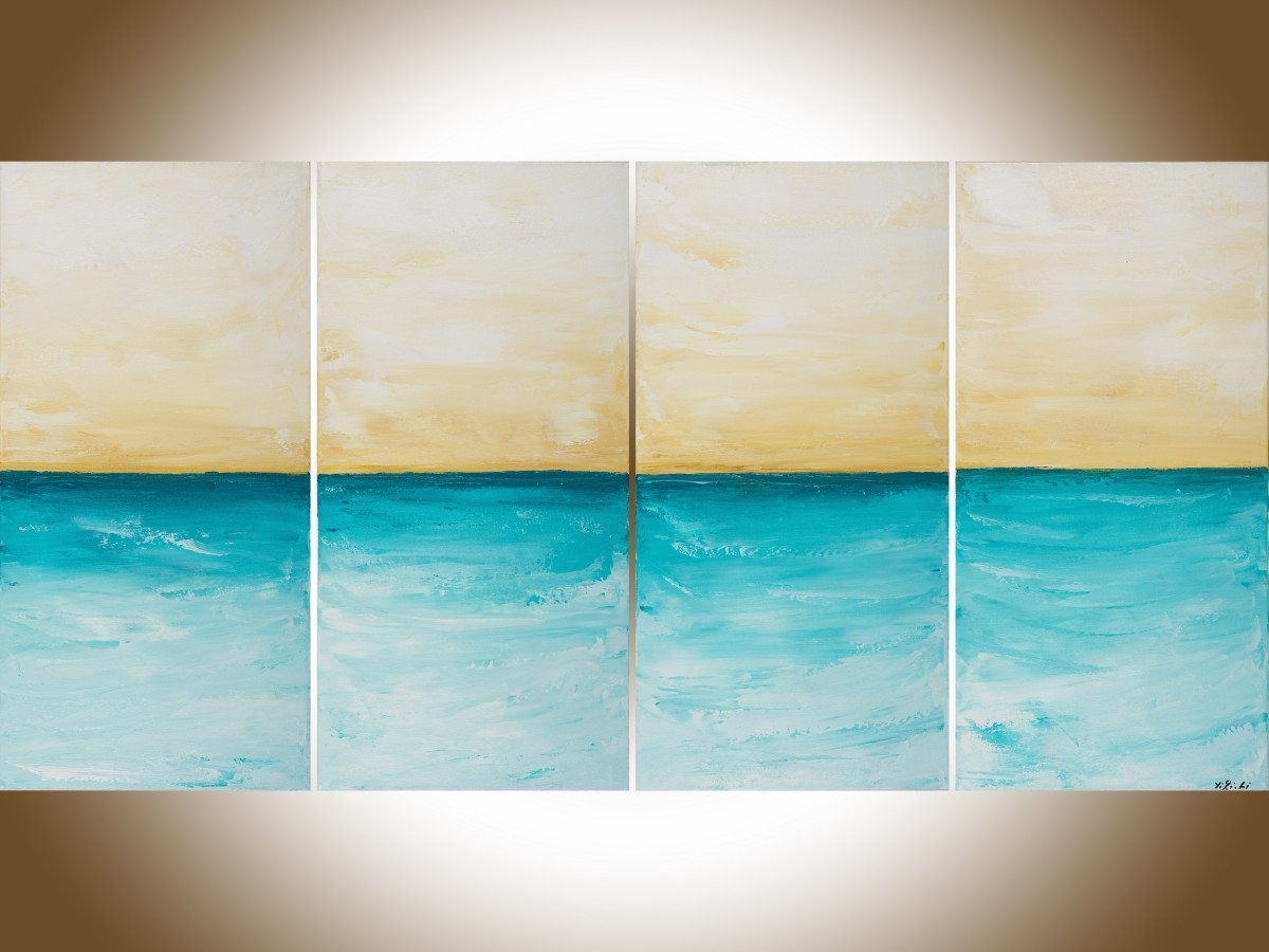 "Horizonqiqigallery 48"" X 24"" Abstract Seascape Painting For Best And Newest Abstract Horizon Wall Art (View 9 of 20)"