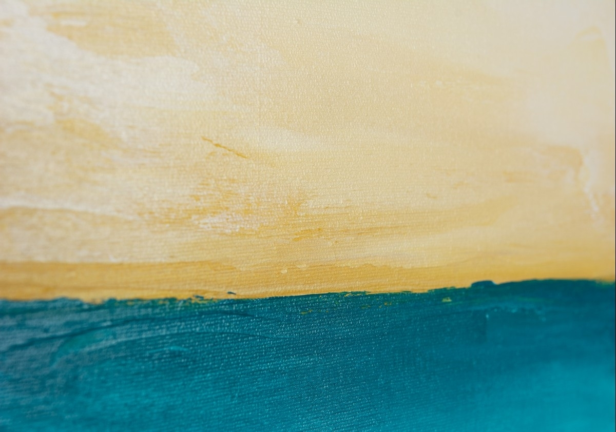 "Horizonqiqigallery 48"" X 24"" Abstract Seascape Painting In 2018 Abstract Horizon Wall Art (View 10 of 20)"