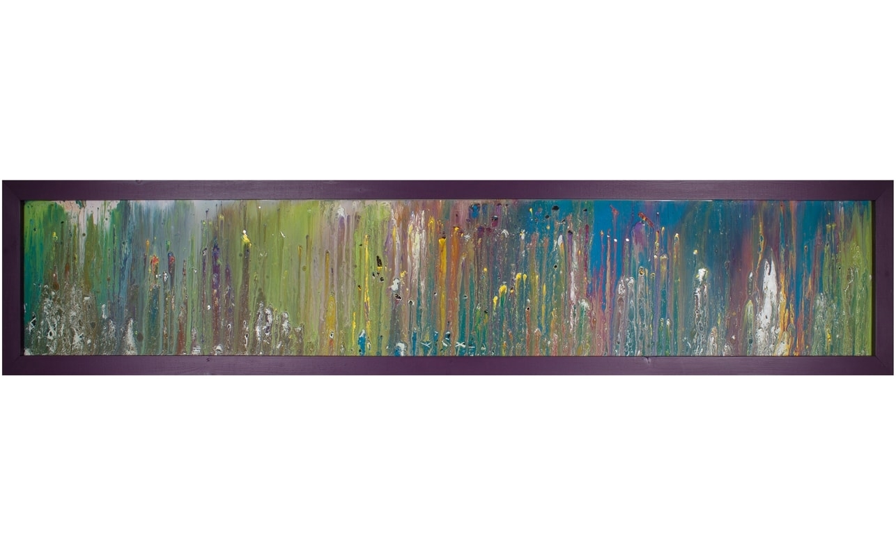 Horizontal Glass Art With Purple Frame | Abstract Wall Art In Most Popular Long Abstract Wall Art (Gallery 7 of 20)