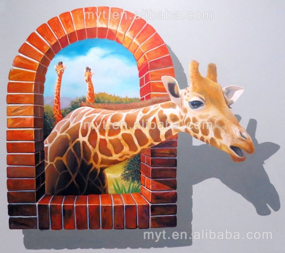 Hot Sale Deer Animal 3D Wall Painting Handpainted Oil Painting On With Current 3D Animal Wall Art (Gallery 7 of 20)