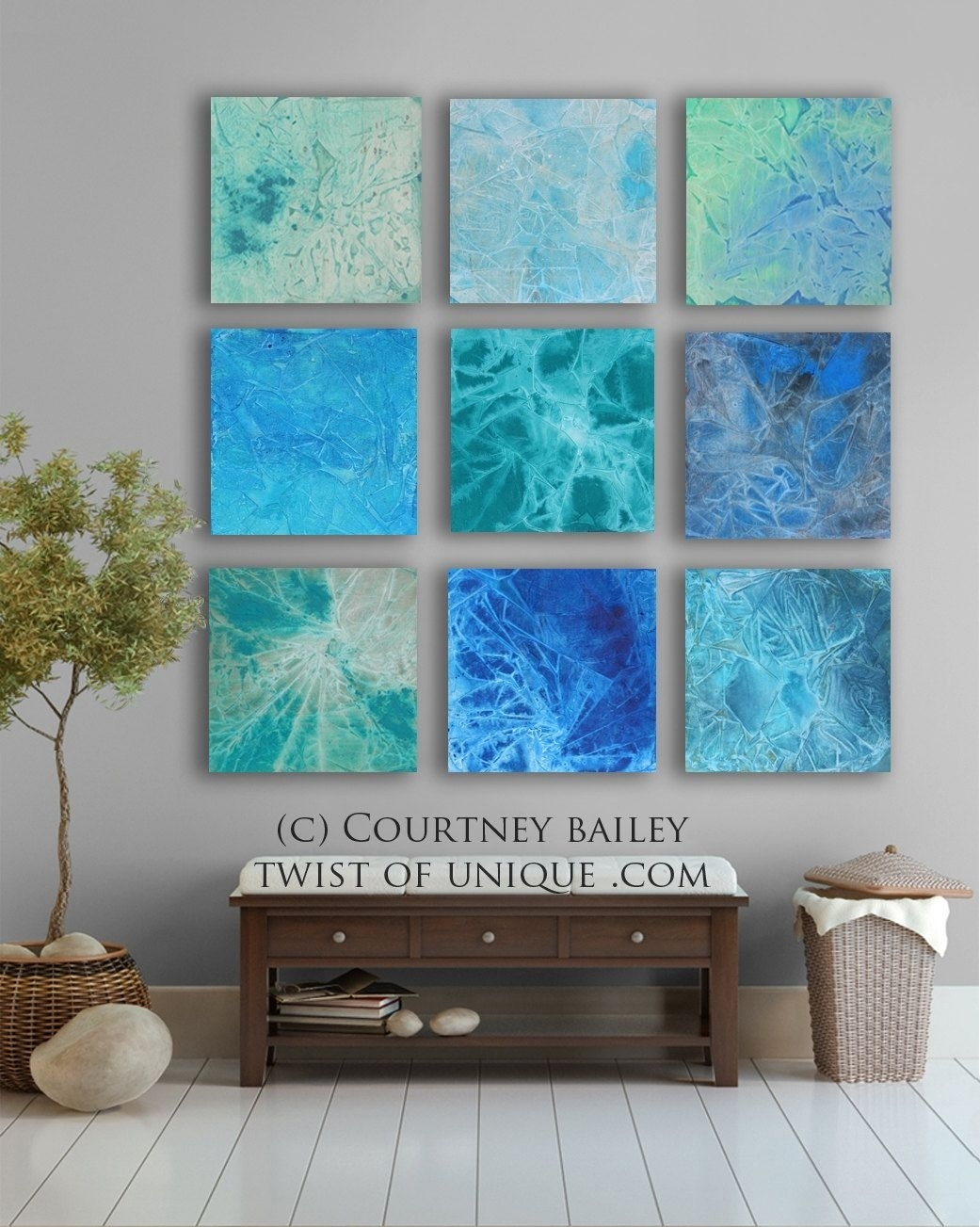 Huge Abstract Art Custom 9 Square Abstract Walltwistofunique Pertaining To 2017 Abstract Wall Art Canada (View 5 of 20)