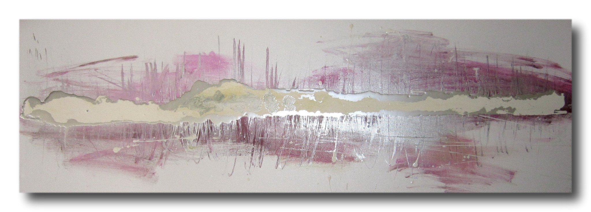 Huge Abstract Canvas Painting Wall Art White Silver Pink Throughout Latest Purple And Grey Abstract Wall Art (Gallery 19 of 20)