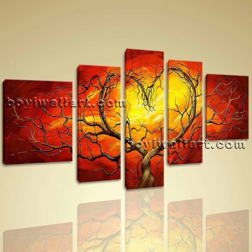 Huge Canvas Giclee Print Modern Abstract Love Tree 5 Panels Framed Within Newest Abstract Orange Wall Art (Gallery 10 of 20)