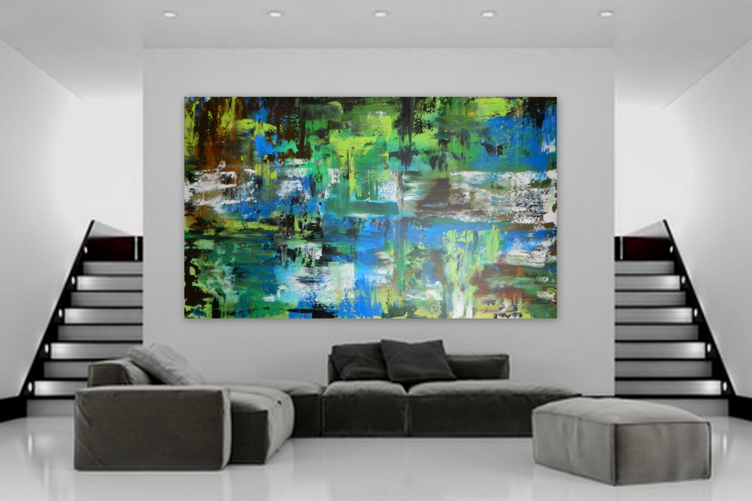 Huge Custom Order Abstract Modern Contemporary Painting Marcy In Most Up To Date Olive Green Abstract Wall Art (Gallery 20 of 20)