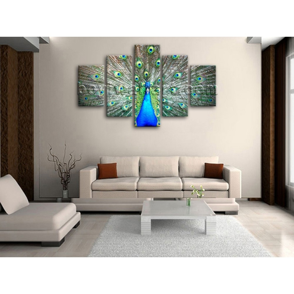 Huge Photo Print Wall Art Design Peacock Bird 5 Panels Home Decor Throughout Latest Abstract Bird Wall Art (Gallery 7 of 20)
