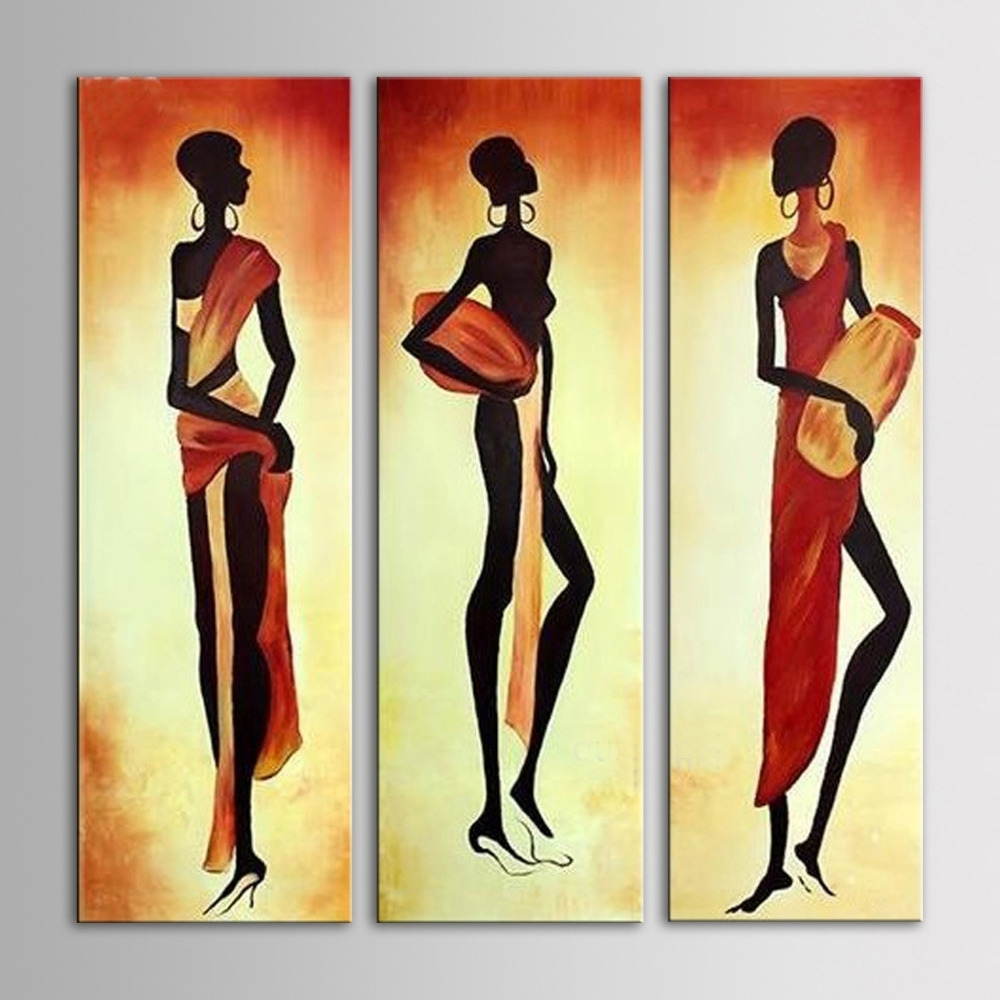 Iarts Africa Women Wall Art 3 Pieces Group Painting Home Decor For Most Recent Abstract African Wall Art (View 10 of 20)