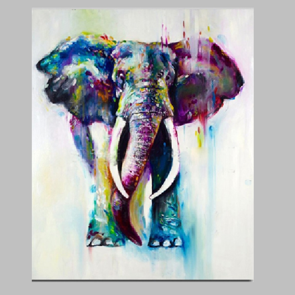 Iarts Canvas Wall Art Painting Christmas Gift Hand Painted Pertaining To 2017 Abstract Elephant Wall Art (Gallery 5 of 20)