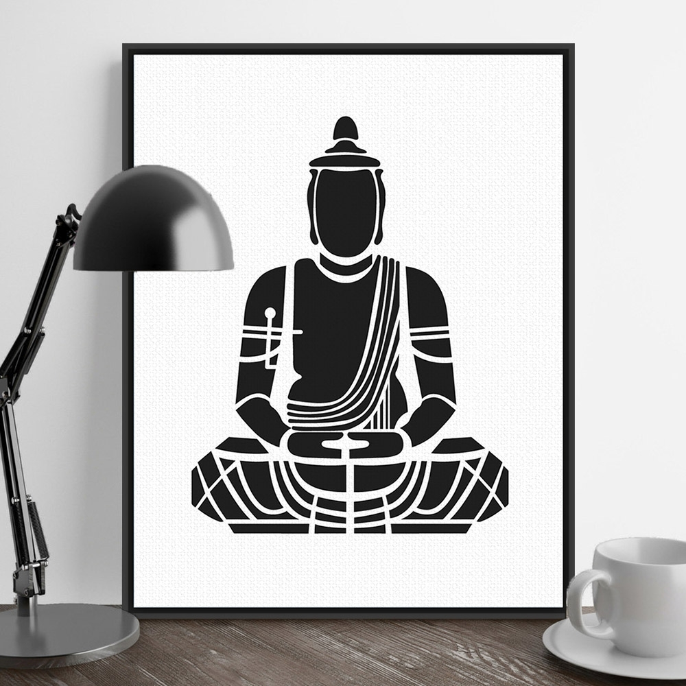 India Modern Minimalist Zen Buddha Portrait Art Prints Poster Within Most Recent India Abstract Wall Art (View 7 of 20)