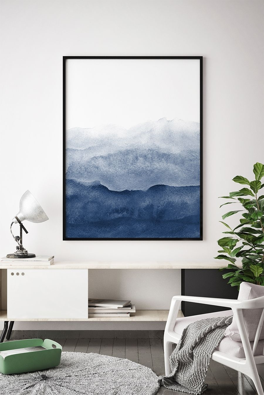 Indigo Watercolor Print, Watercolour Wall Art Print, Abstract Pertaining To Best And Newest Dark Blue Abstract Wall Art (View 5 of 20)