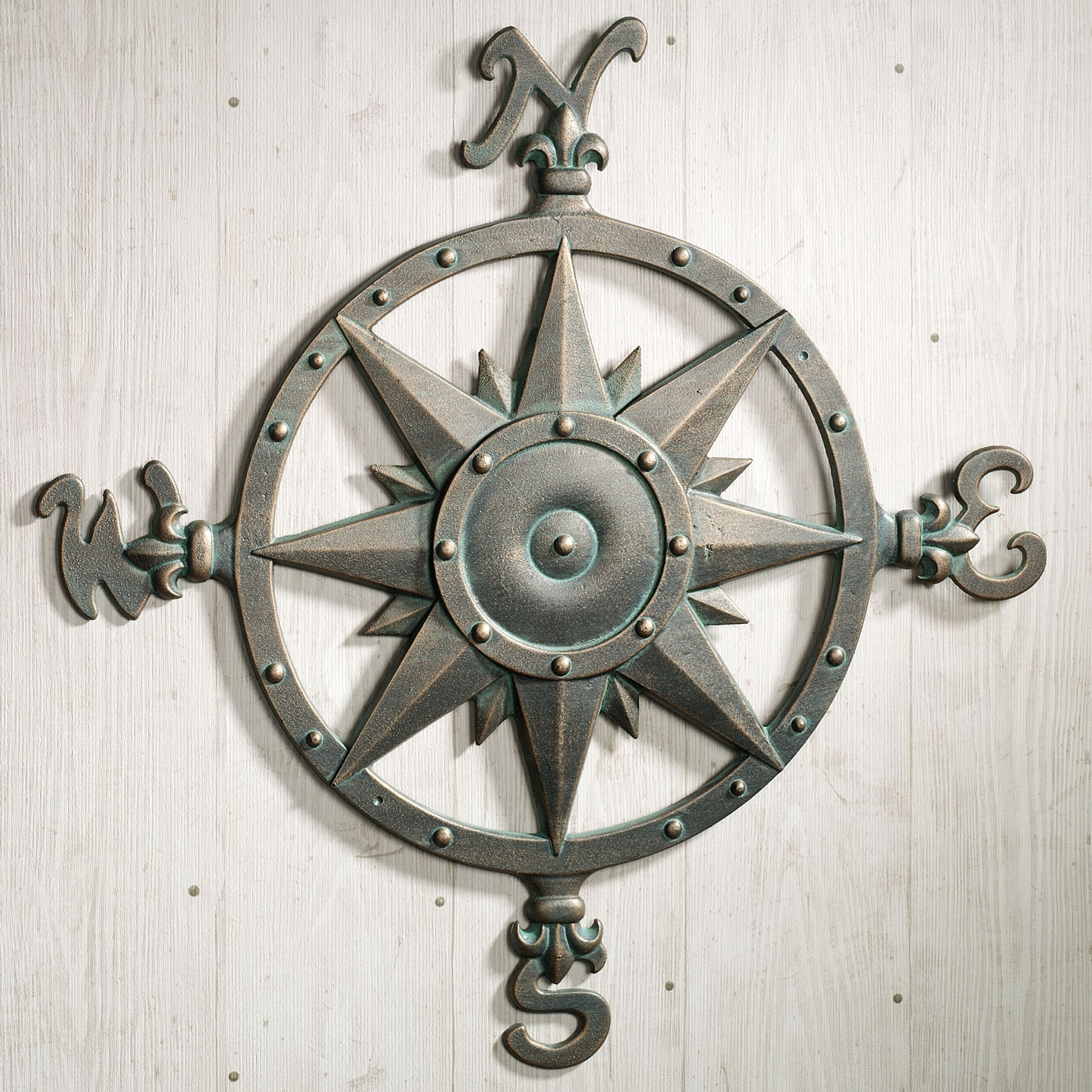 Indoor Outdoor Nautical Compass Metal Wall Art | Metal Wall Art With Best And Newest Abstract Nautical Wall Art (View 8 of 20)