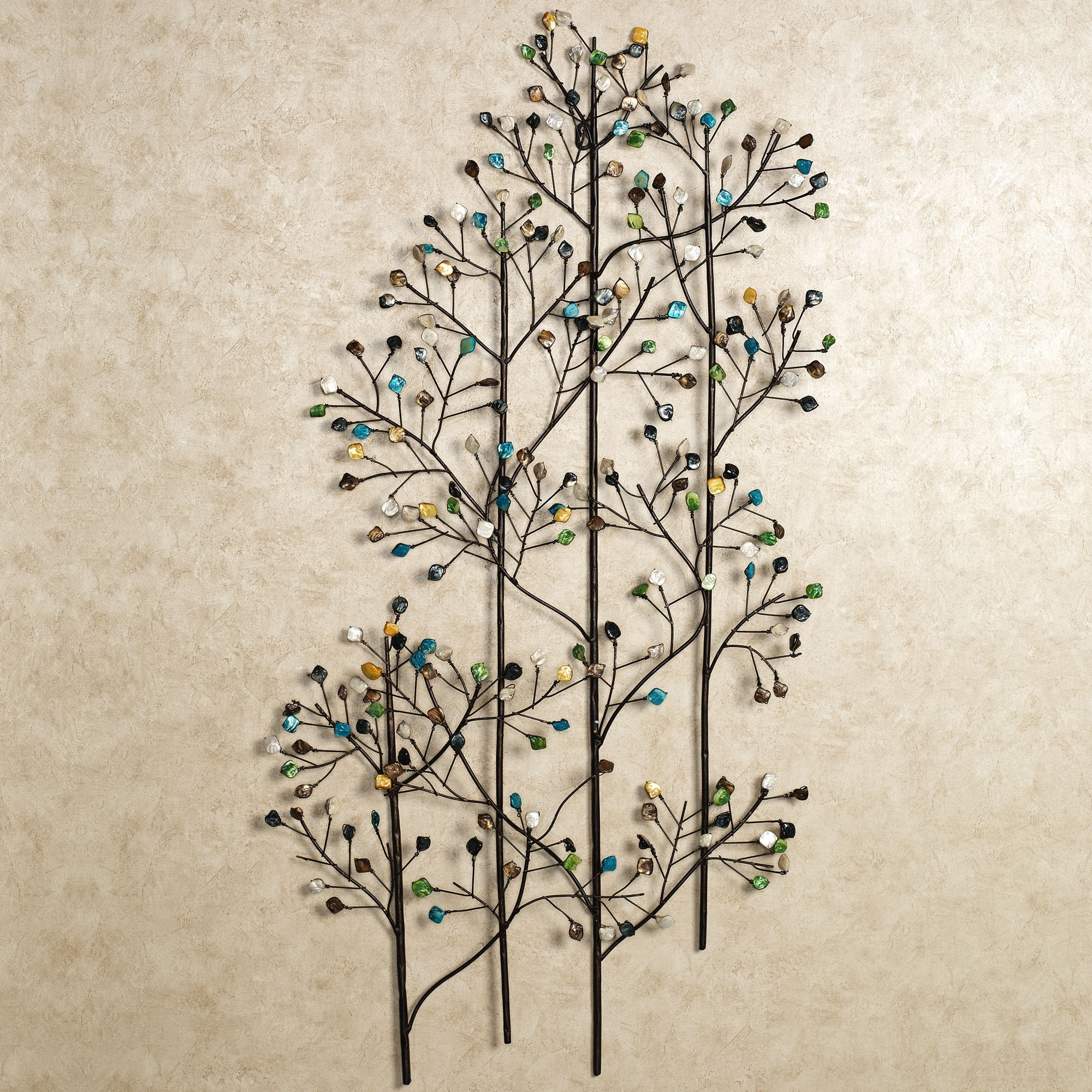 art p to decor metal laurella click green expand wall blue leaf