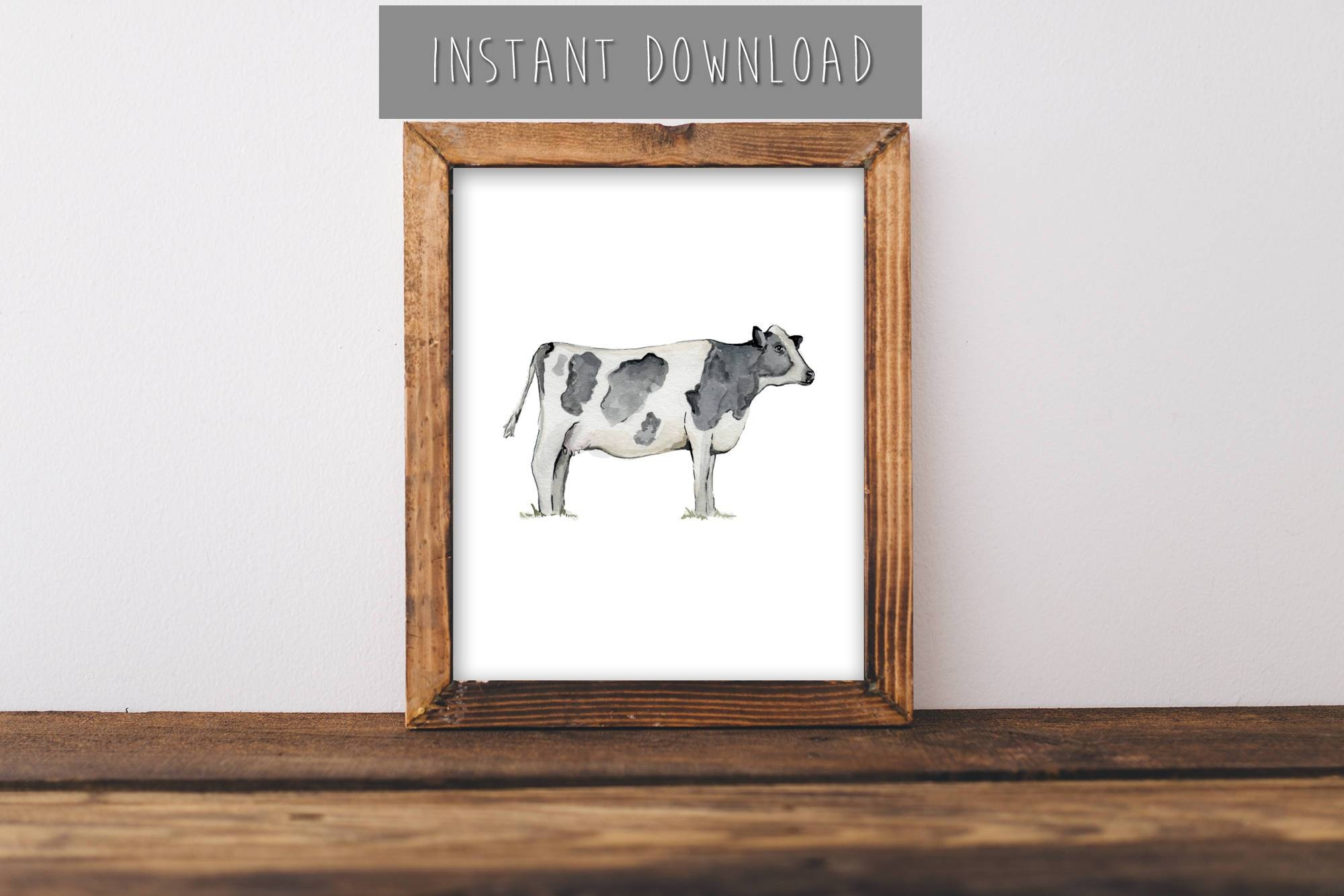 Instant Download Painting, Farmhouse Wall Art, Cow Painting, Cow Inside Newest Farm Animal Wall Art (View 16 of 20)