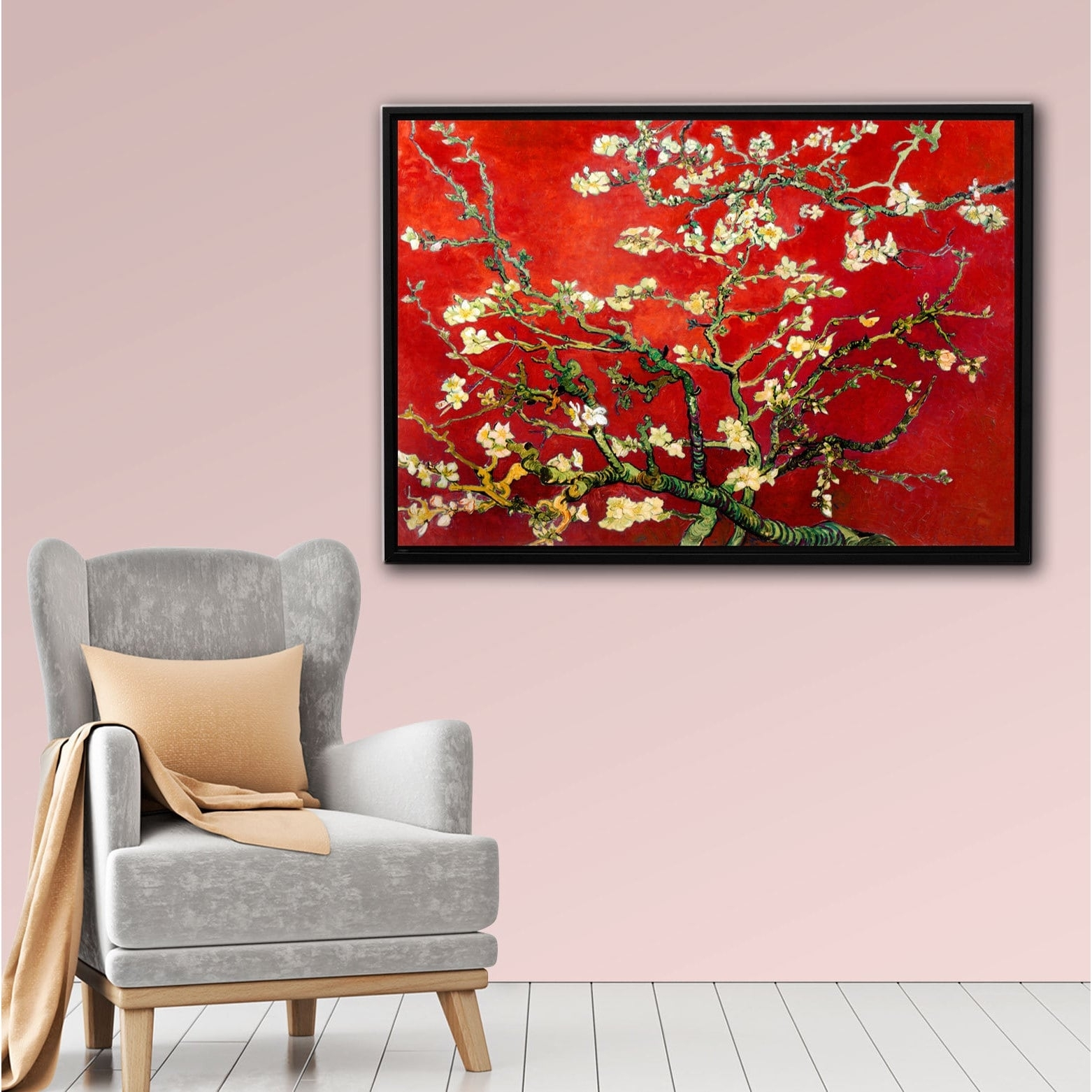 Interpretation Of Vincent Van Gogh's 'almond Blossom' In Red With Regard To Best And Newest Vincent Van Gogh Multi Piece Wall Art (View 11 of 20)