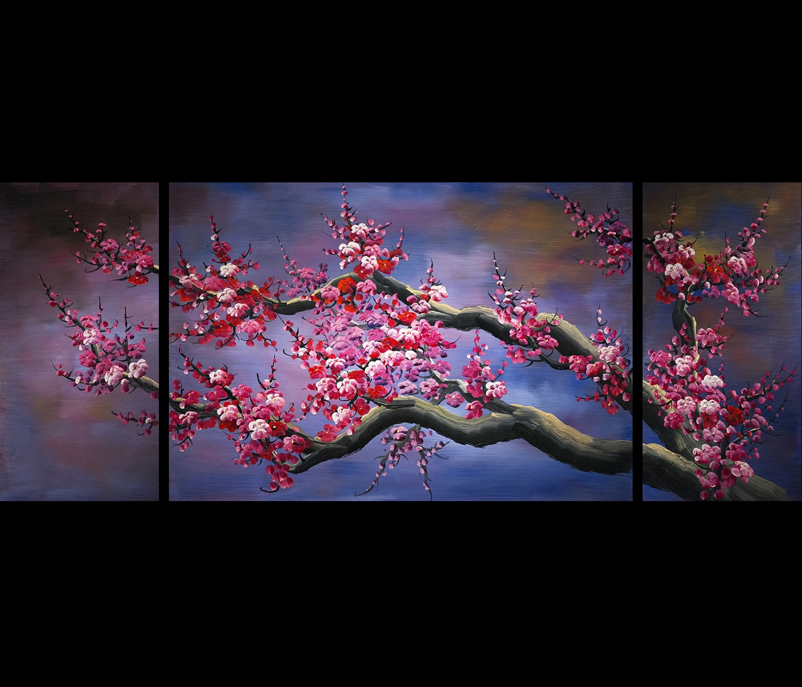 Japanese Cherry Blossom Canvas Wall Art Modern Abstract Painting for Most Current Abstract Cherry Blossom Wall Art