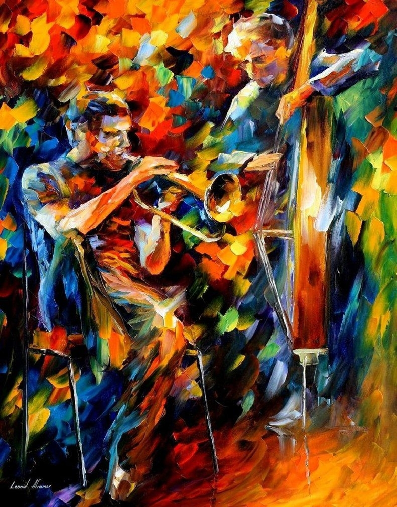 "Jazz Duo — Oil Painting On Canvasleonid Afremov. Size: 24""x30 For Newest Abstract Jazz Band Wall Art (Gallery 15 of 20)"