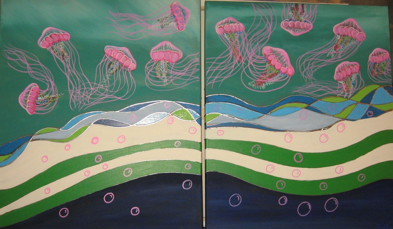 Jellyfish Art Jellyfish Painting Pink Jellyfish Jellyfish Wall Art For Current Abstract Ocean Wall Art (View 11 of 20)