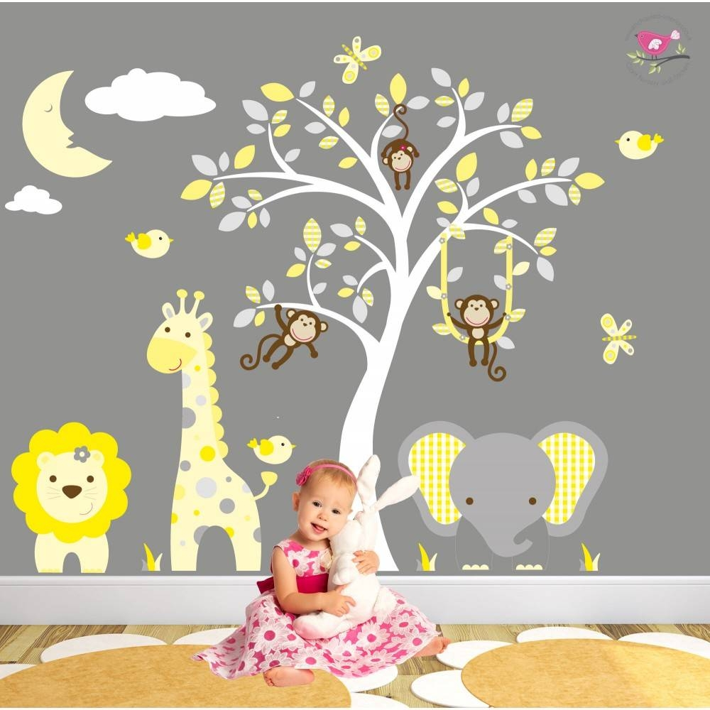 Jungle Animal Nursery Wall Art Stickers intended for 2017 Animal Wall ArtStickers