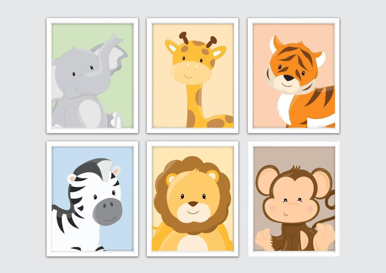 Jungle Nursery Wall Prints Kids Safari Wall Art Safari Regarding Most Up To Date Animal Wall ArtFor Nursery (View 9 of 20)