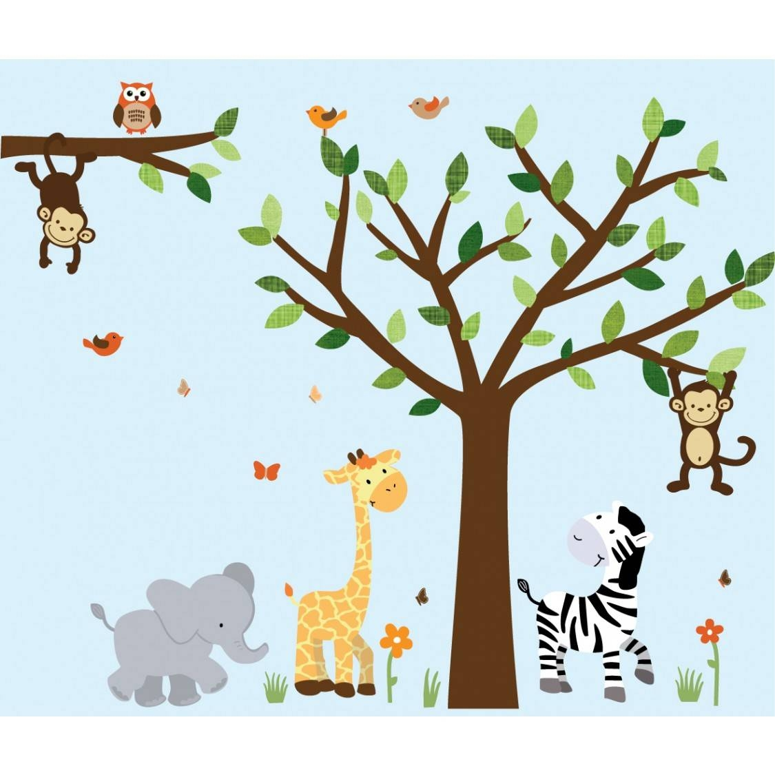 Jungle Wall Decal With Elephant Wall Art For Boys Throughout Most Popular Safari Animal Wall Art (Gallery 3 of 20)