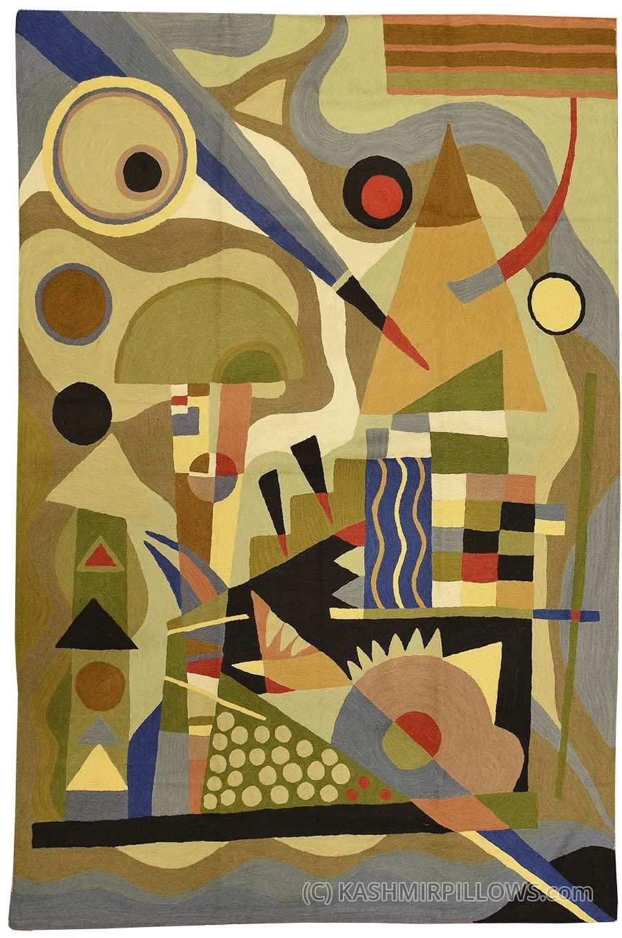 Kandinsky Abstract Composition Wool Rug / Wall Tapestry Hand Intended For Latest Abstract Art Wall Hangings (Gallery 2 of 20)