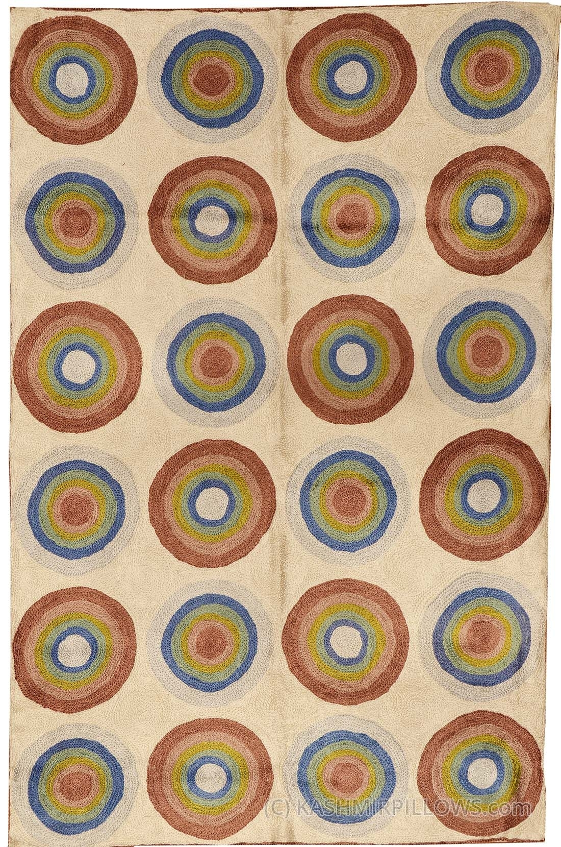 Kandinsky Circles Silk Rug / Wall Tapestry Hand Embroidered 2Ft X With Regard To Most Recent Abstract Circles Wall Art (Gallery 20 of 20)