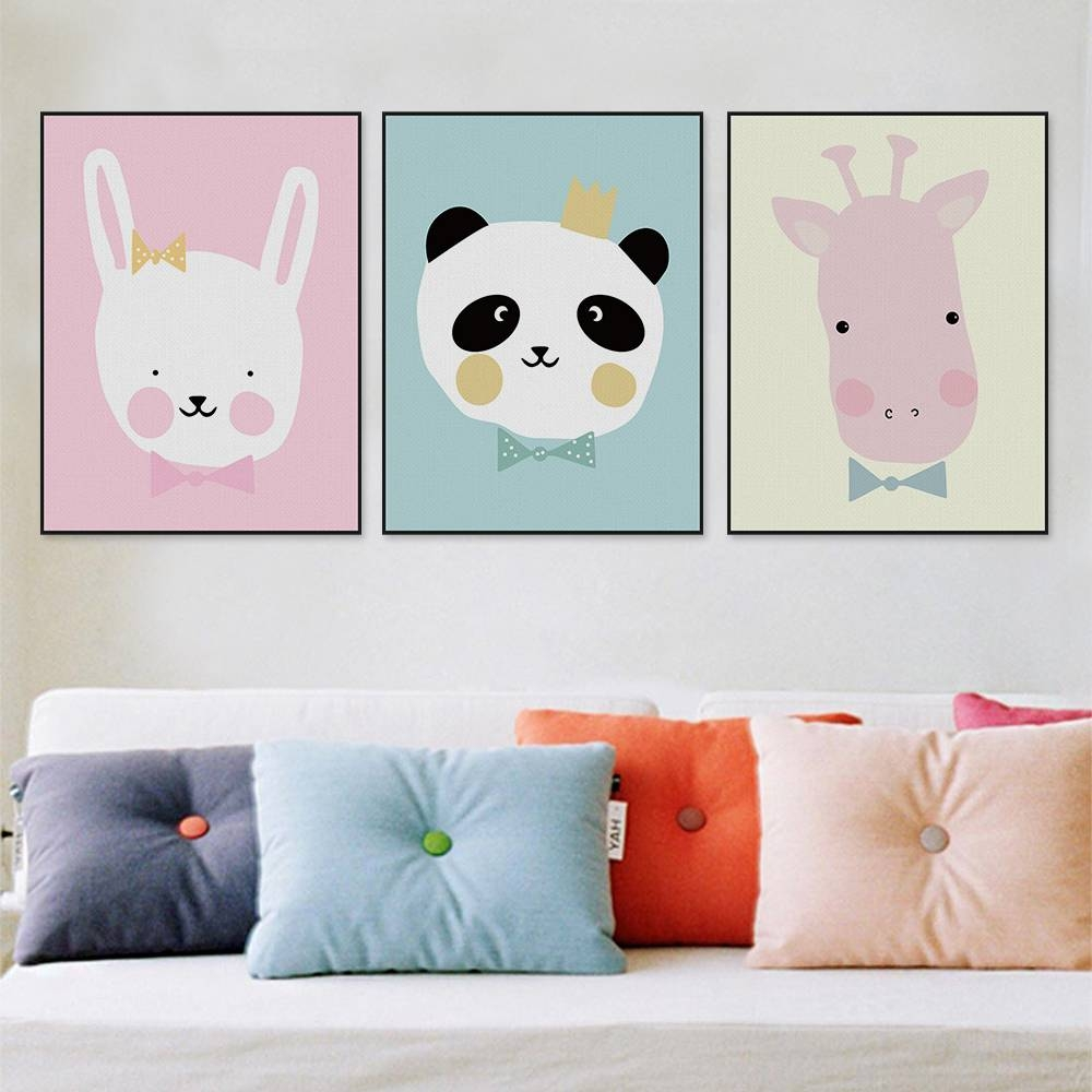 Kawaii Animals Lion Canvas Poster Print Cartoon Nursery Wall Art With Newest Baby Animal Wall Art (View 9 of 20)