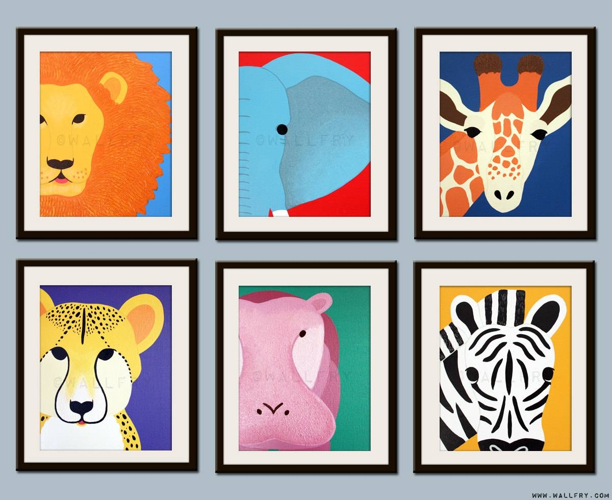 Kids Art For Children. Kids Decor. Jungle Nursery Art Safari With Most Current Jungle Animal Wall Art (Gallery 4 of 20)