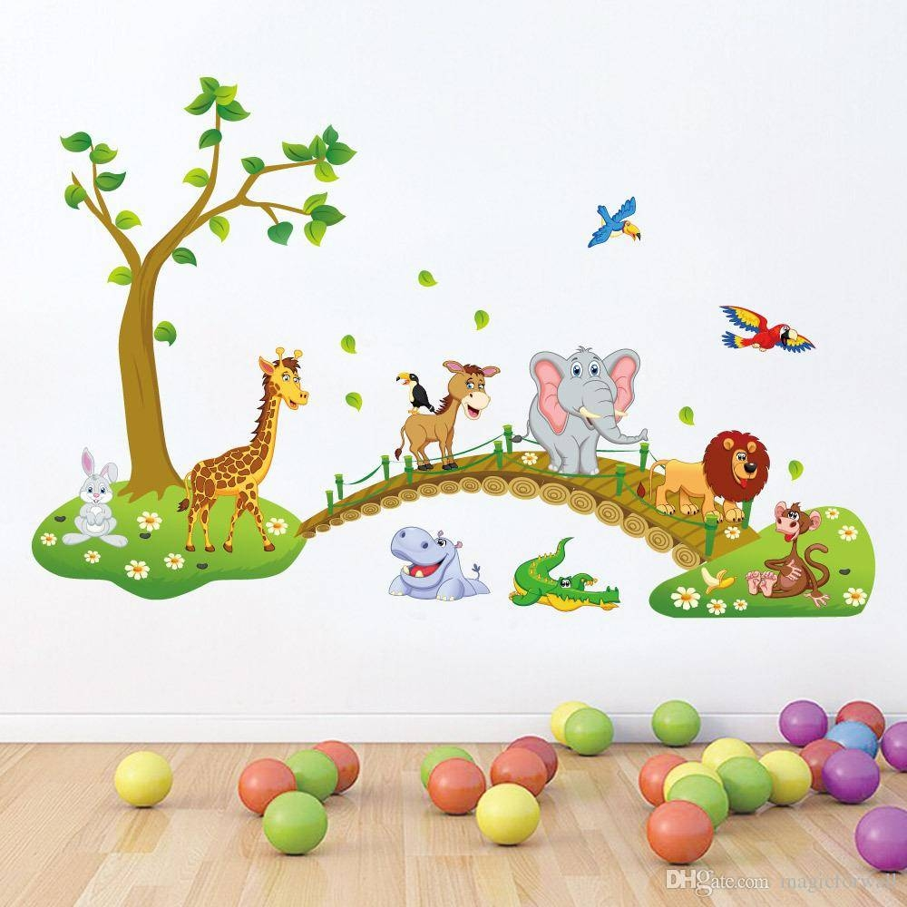 Kids Room Nursery Wall Decor Decal Sticker Cute Big Jungle Animals with Recent Nursery Animal Wall Art