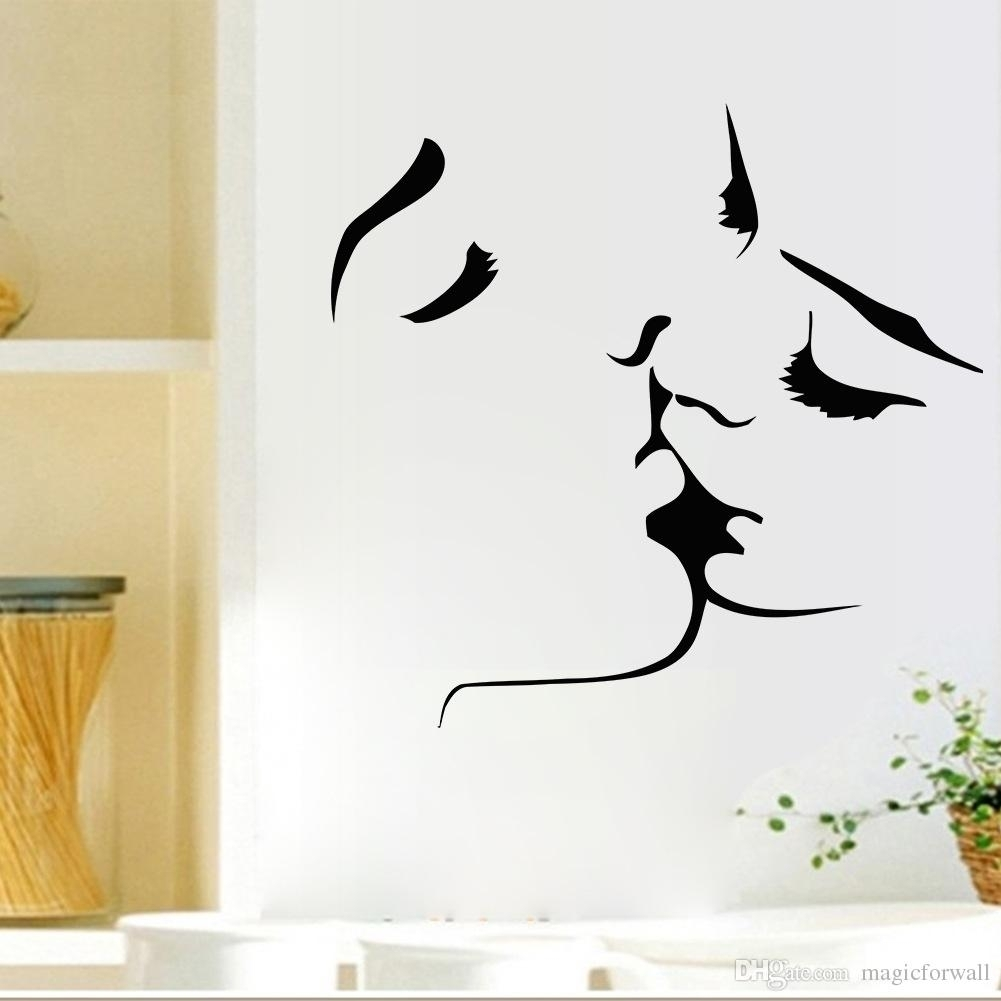 Kissing Wall Art Mural Decal Sticker Valentines' Day Romantic Home within Most Recent Abstract Art Wall Decal