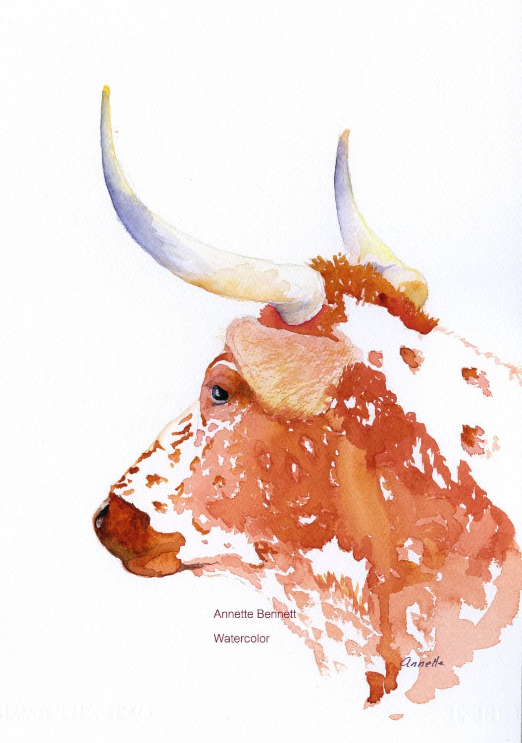 Kitchen Art Cow Painting Watercolor Animal Longhorn Pertaining To 2018 Farm Animal Wall Art (Gallery 14 of 20)
