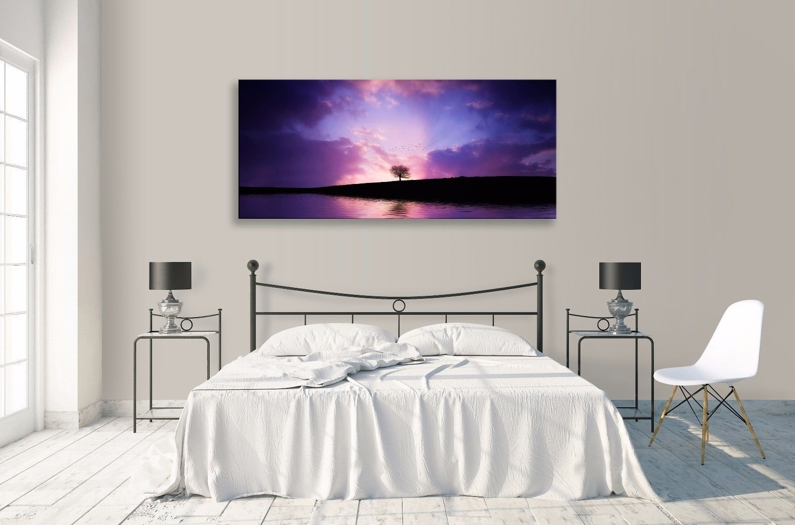 Landscape Abstract Purple Horizon Lake Tree Panorama Canvas Wall Intended For Most Up To Date Abstract Horizon Wall Art (Gallery 15 of 20)