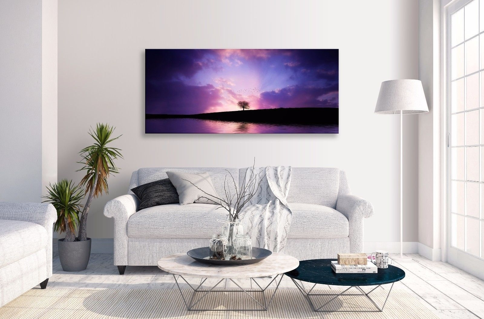 Landscape Abstract Purple Horizon Lake Tree Panorama Canvas Wall Throughout Recent Abstract Horizon Wall Art (View 15 of 20)