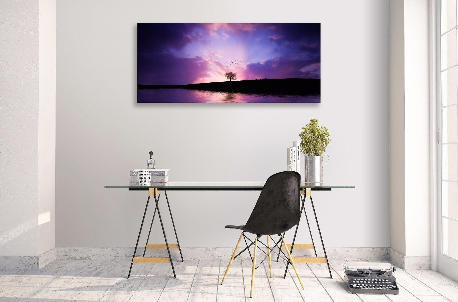 Landscape Abstract Purple Horizon Lake Tree Panorama Canvas Wall With Regard To Newest Abstract Horizon Wall Art (View 16 of 20)