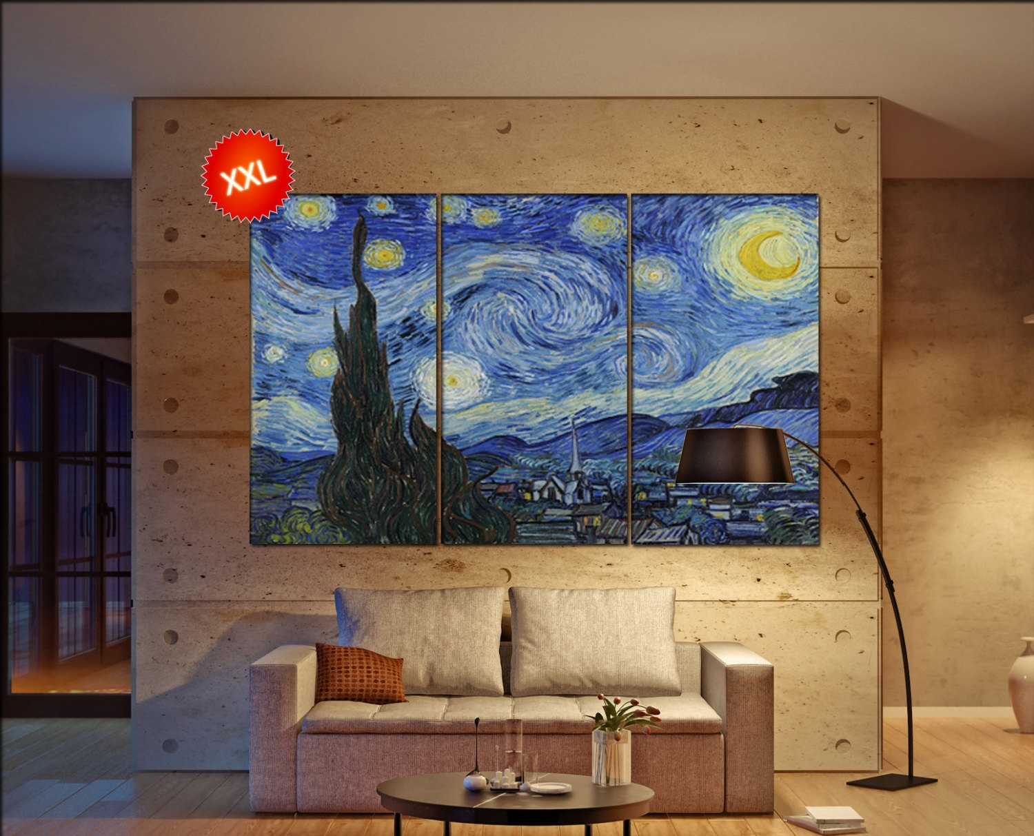 Large 3 Or 5 Panels / Boards Wrapped Stretched Canvas Wall Art Throughout Best And Newest Vincent Van Gogh Wall Art (View 11 of 20)