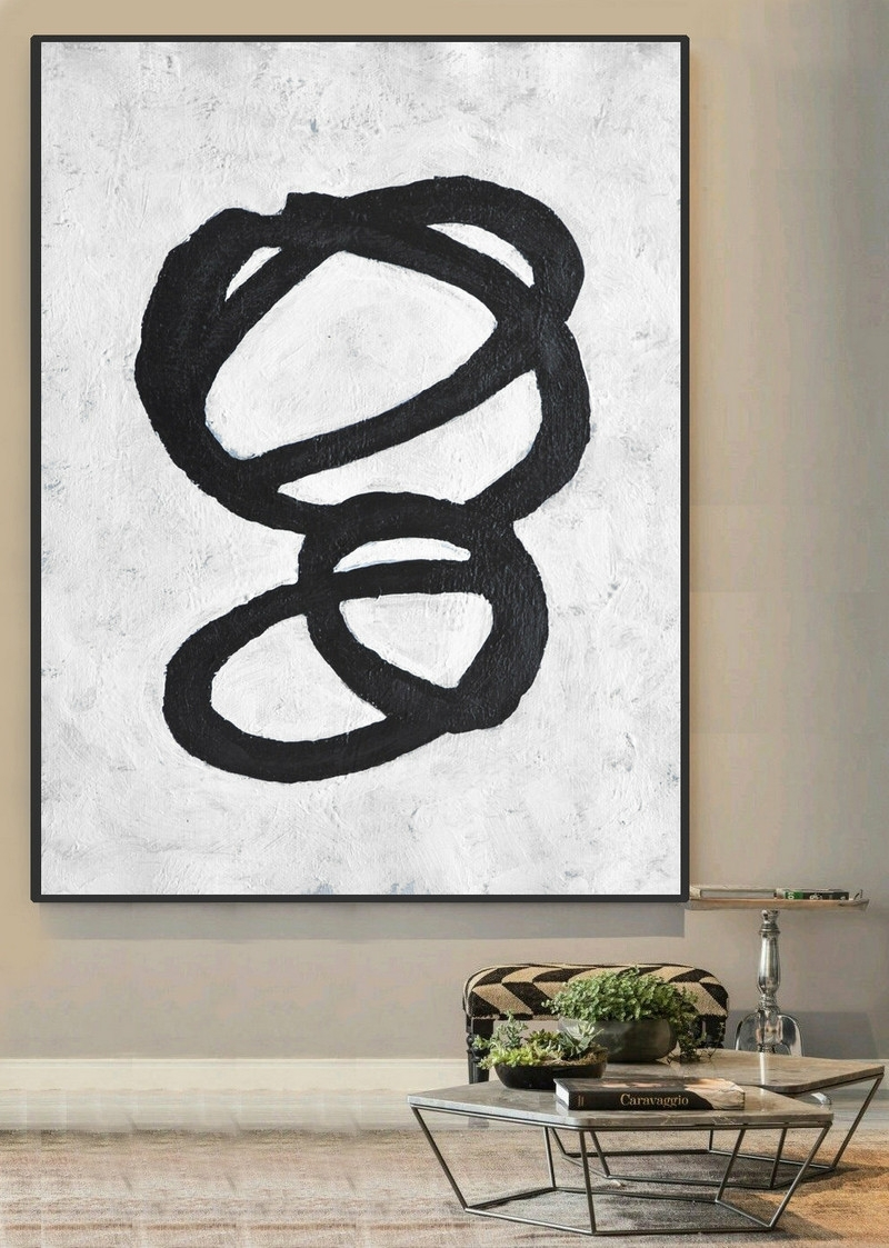 Large Abstract Art, Handmade Painting Minimalist Art, Abstract Intended For Current Abstract Circles Wall Art (Gallery 18 of 20)