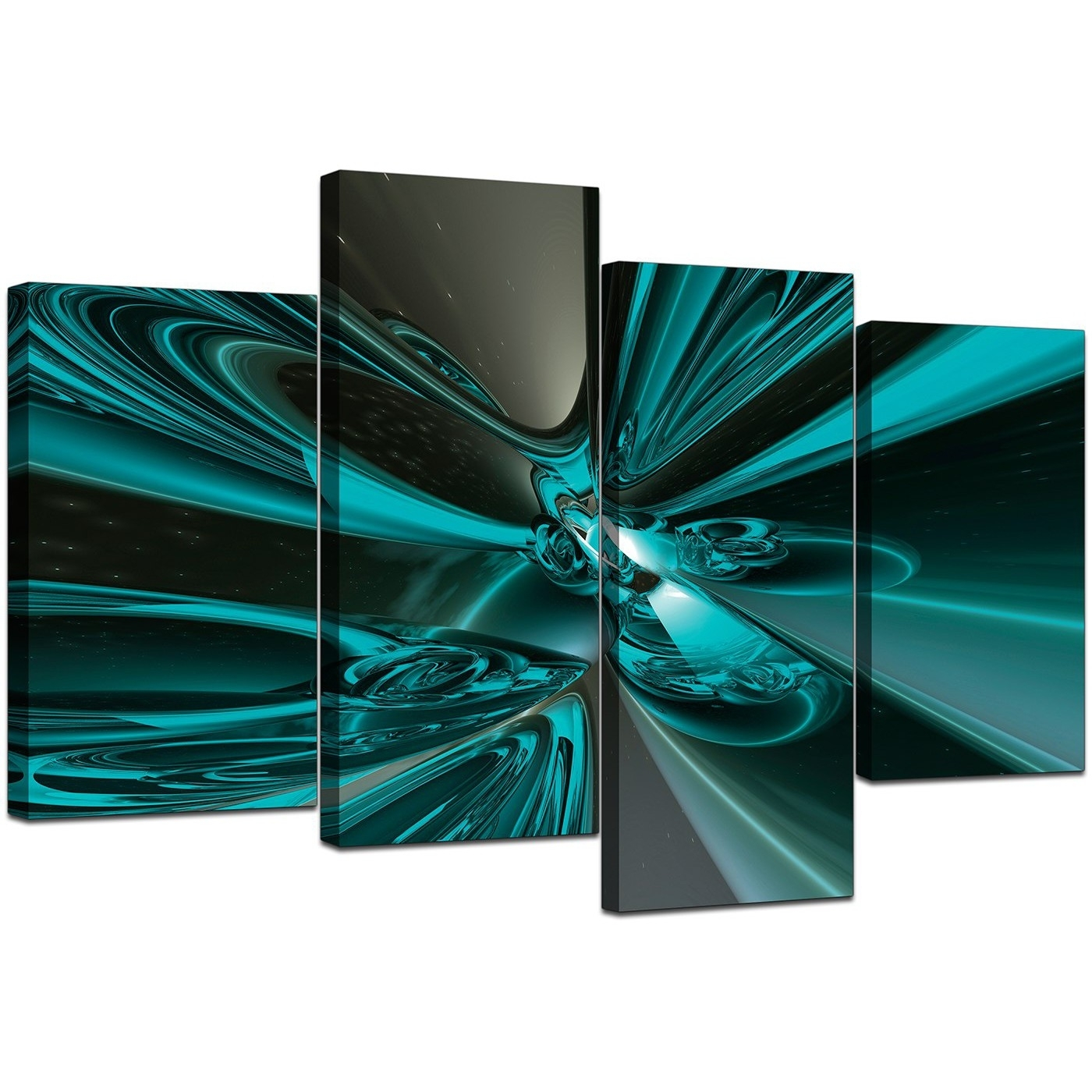 Large Abstract Canvas Art In Teal – For Living Room With Newest Abstract Wall Art Prints (View 10 of 21)