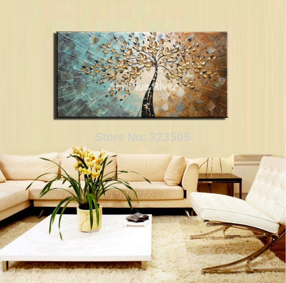Large Abstract Canvas Wall Art Decorative Acrylic Flower Tree Throughout Most Current Abstract Living Room Wall Art (View 12 of 20)