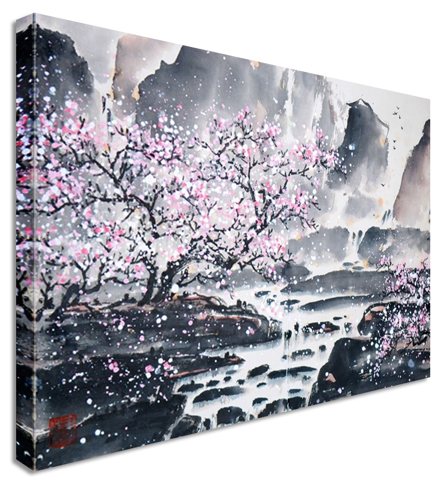 Large Abstract Japanese Painting Cherry Blossom Canvas Wall Art For Most Popular Abstract Cherry Blossom Wall Art (Gallery 13 of 20)