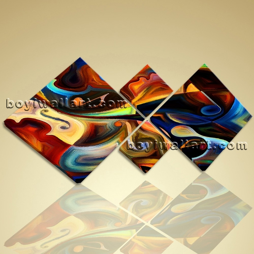 Large Abstract Music Guitar Wall Art Modern Bedroom Four Pieces For Latest Abstract Music Wall Art (View 12 of 20)