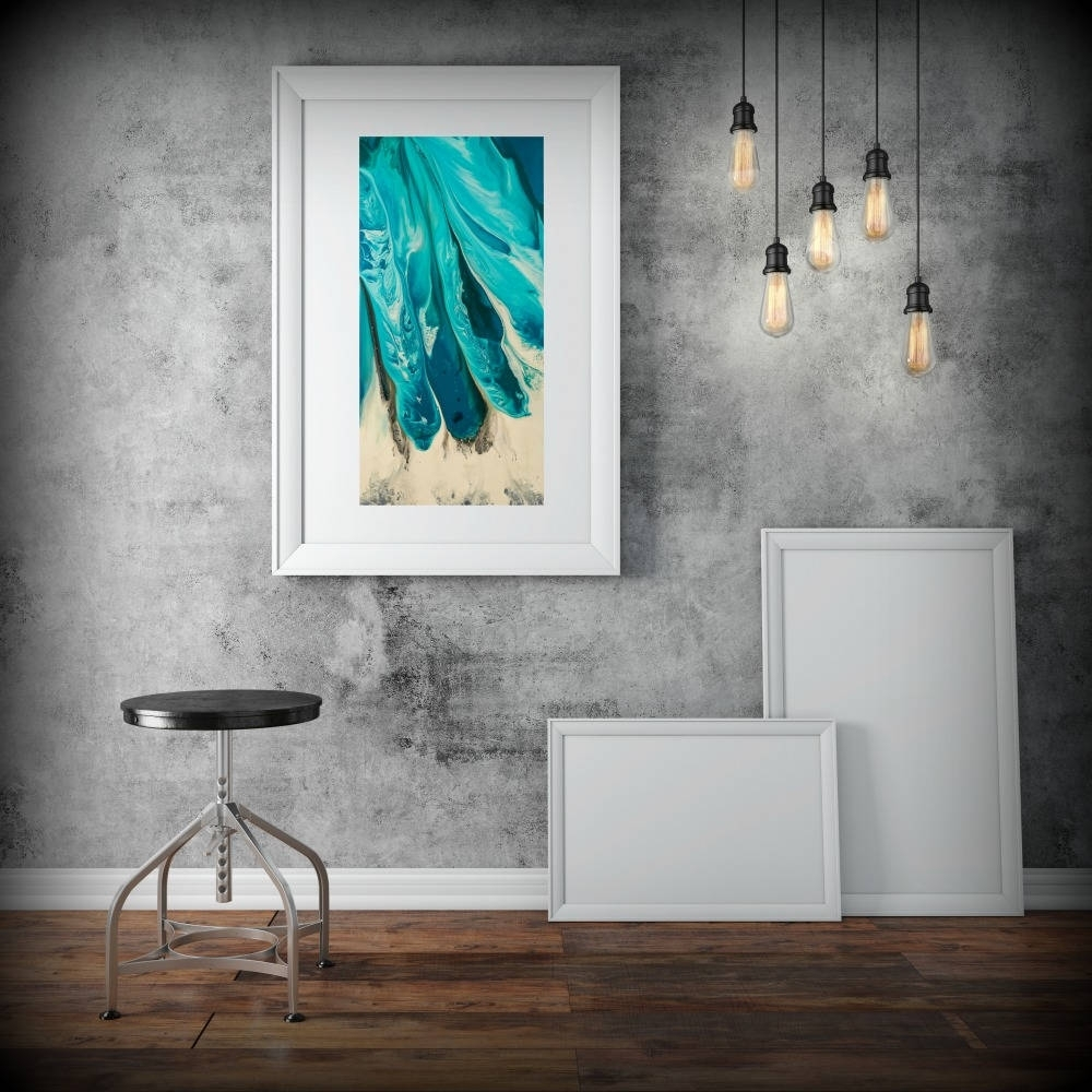 Large Abstract Print From Canvas Painting 24X48 Giclee Blue Throughout Recent Light Abstract Wall Art (Gallery 17 of 20)