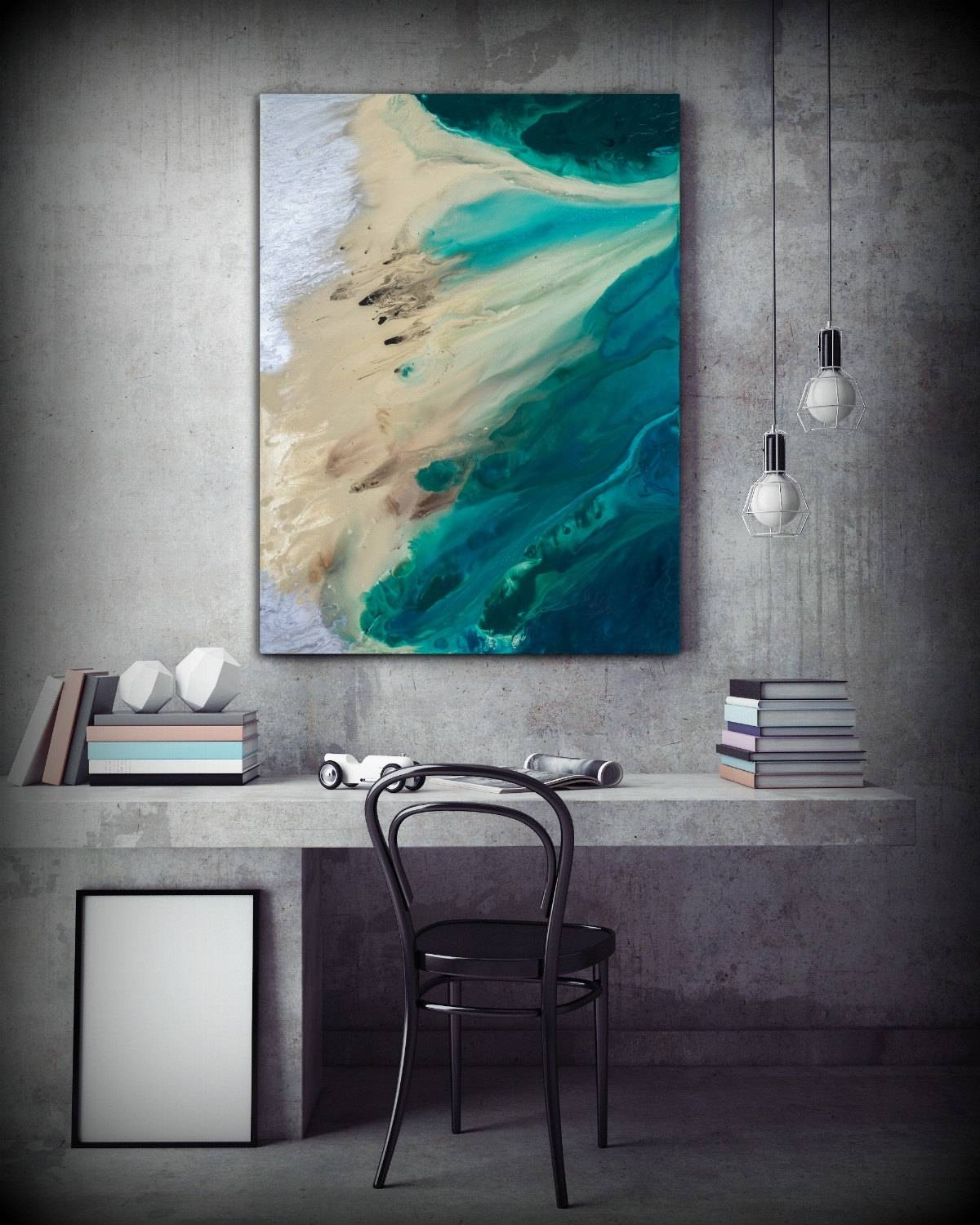 Large Abstract Print Of Painting, Blue Painting Print, Giclee With Regard To Most Recently Released Large Coastal Wall Art (View 18 of 20)