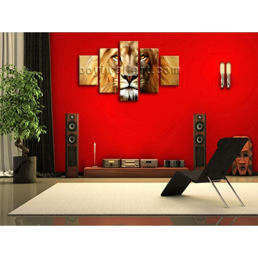 Large Beautiful Lion Painting Hd Print Abstract Wall Art Dining With Newest Abstract Wall Art For Dining Room (View 13 of 20)