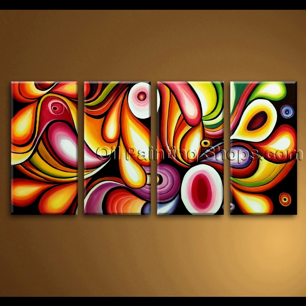 Large Canvas Wall Art Rainbow Colorful Abstract Painting Throughout Most Up To Date Extra Large Canvas Abstract Wall Art (Gallery 14 of 20)