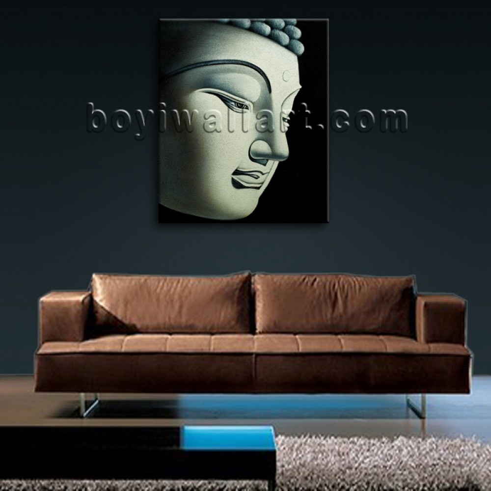 Large Feng Shui Painting Abstract Buddha Head Stately Home Decor Pertaining To Latest Abstract Buddha Wall Art (View 12 of 20)