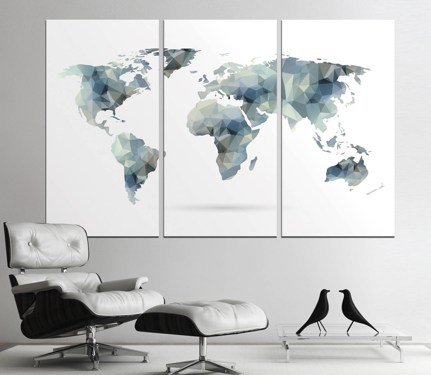 Large Geometric World Map Print, Abstract World Map Canvas Panels For Most Current Abstract Wall Art For Office (View 6 of 20)