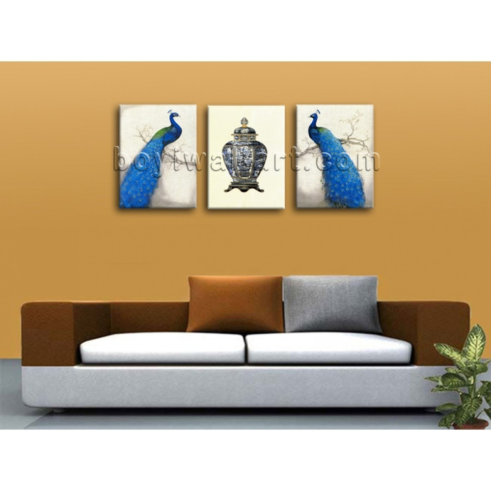 Large Giclee Print On Canvas Peacock Abstract Wall Art Living Room Throughout Current Abstract Wall Art For Bedroom (View 2 of 21)